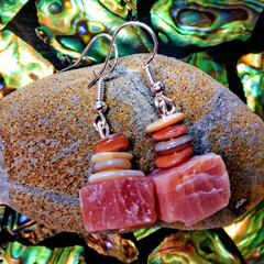 Raw Sunstone and Seashell Earrings