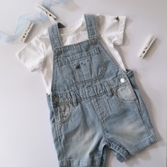 Hand-Embroidered Bumble Bee Denim Overalls & T-Shirt Set Baby Gift