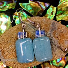Sea Blue Larimar Crystals with Moonstones Earrings