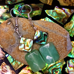 Green Polished Aventurine Crystals, Abalone Shell and Swarovski Crystal Earrings
