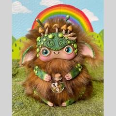 "Lil monster art doll, artist bear, nature inspired fantasy creature ""Shroom"""
