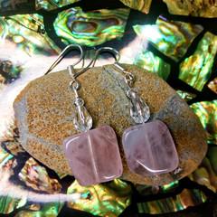 Rose Quartz and Swarovski Crystal Earrings
