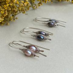 Silver Herringbone and Pearl Earrings