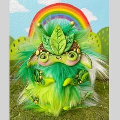 "Lil monster art doll, artist bear, nature inspired fantasy creature ""Leaf"""