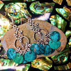 Turquoise Coastal Shell and Swarovski Crystal Chandelier Earrings