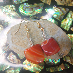 Carnelian Crystals with Swarovski Crystal Earrings
