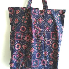 Foldable eco bag / NAVY - Flower