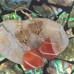 Carnelian Crystals with Golden Butterflies Earrings