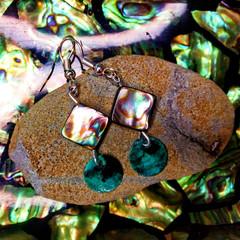 Abalone and Turquoise Coastal Shell Earrings