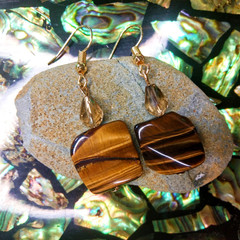 Tiger's Eye with Champagne Swarovski Crystals Earrings