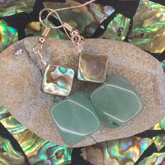 Green Aventurine Crystals with Abalone Sea Shell and Swarovski Crystal Earrings