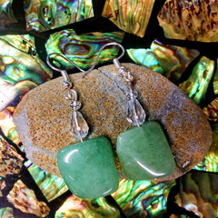 Green Aventurine Crystals and Swarovski Crystal Earrings