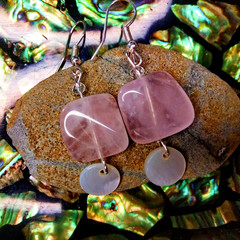 Rose Quartz Crystals with Sea Shell and Swarovski Crystal Earrings