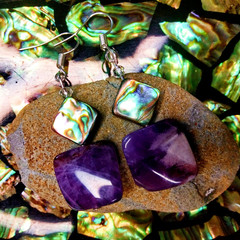 Amethyst Crystals with Abalone Sea Shell and Swarovski Crystal Earrings