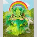 "Lil monster art doll, artist bear, nature inspired fantasy creature ""Leaf"""
