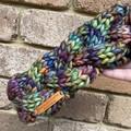 Cable knit green rainbow headband chunky earwarmers