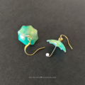 Green Umbrella Dangle Earrings - Cute rainy day jewellerly