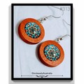 Handmade Earrings -   Wooden Dangle With A Multicoloured Glass Jewel Cabochon.
