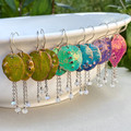 Copper Colours - Rainbow Moonstone Wind Chime Earrings
