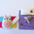 Miniature felt cat play set, cat and mouse in a tin bed, Miniature felt animal
