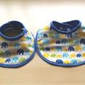 Reversible Dribble Bib/Elephant Blue x  Sky blue Double Gauze