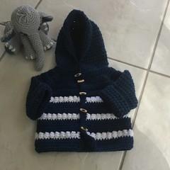 Baby knit jumper, sweater. Crochet Baby Hoodie, Kerry Jane Design. Active