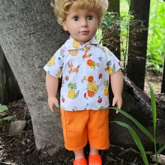 Dolls Clothes cargo Shorts and Fox print Shirt for45cm/18inch doll