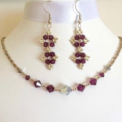 Swarovski Crystal Earrings and Necklace Set: Lacie and L'Argent
