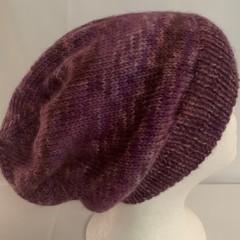 Unisex adult hand-knitted 80% AUSSIE-ALPACA-20% AUSSIE MERINO slouch-beanie 4/ 5