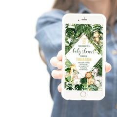 Safari Baby Shower Evite, Jungle Baby Shower Electronic Phone Evite, Greenery