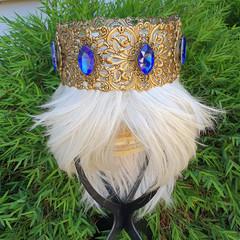 Ornate Sapphire Crown - ooak festival wear headpiece head piece