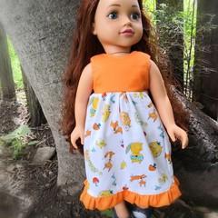 Sleeveless  Dress, fox print with trimfor 45cm 18 inch doll. Orange Fox