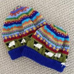 Mummy & Me Sheep Beanies - hand knitted
