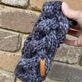 Cable grey headband, women's grey winter headband, chunky ladies ear warmer, gre