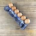 Blue Rose & Swirl Egg Tray - Handmade Ceramic Egg Carton - Gift