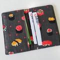 Fabric card holder - GREY, sushi - Business card, credit card, Railway pass
