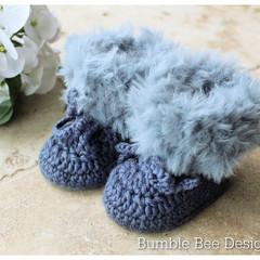 Unisex crochet baby booties, Denim Blue Faux fur booties , 0-3 & 3-6 months