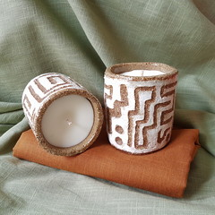 Chai spiced candle in handmade ceramic cup
