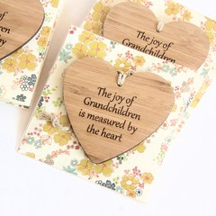 The Joy Of Grandchildren Is Measured By The Heart, Bamboo Heart Decoration