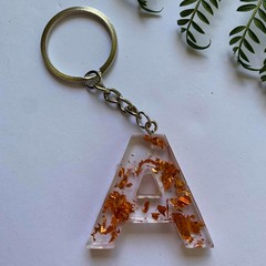 Flower Letter keychains With copper flakes