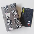 Fabric card holder - GREY, Cat - Business card, credit card wallet, Railway pass