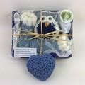 Newborn Baby Gift Set   Booties   Owl   Key Ring   Hand Knitted   Hand Crocheted