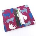 Fabric card holder - PURPLE, Cat - Business card, credit card, Railway pass