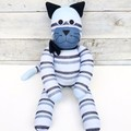 'Carlton' the Sock Cat -  navy denim light blue & white stripes -*MADE TO ORDER*