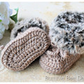 Unisex crochet baby booties, Brown,  Faux fur booties , 0-3 & 3-6 months