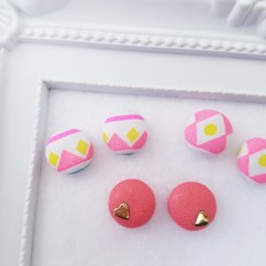 Set of Three Pairs!! Fabric Button Earrings