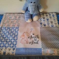 """ELEPHANT PATCHWORK NAPPY CHANGE MAT + BAG OPTION - 45cm x 52cm (18"""" x 21"""")"""