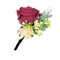 Dark Red Rose Buttonhole with Star Flowers  for Groom Groomsman Father