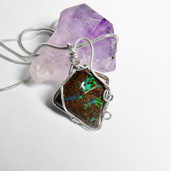 Boulder Opal 12.14ct, Sterling silver and gold wire wrapped Koroit opal