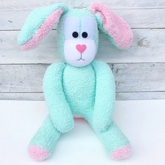 'Berta' the Sock Bunny - mint green and musk pink - EASTER - *READY TO POST*